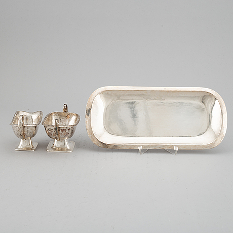 A german 20th century silver 800/1000, sugar and cream-jug on tray, marked julius herz.