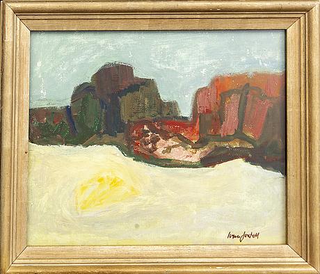 Ivan jordell, olja på pannå, signerad.