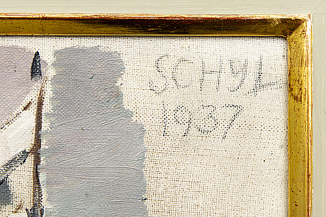 Jules schyl, a signed an dated oil on canvas.