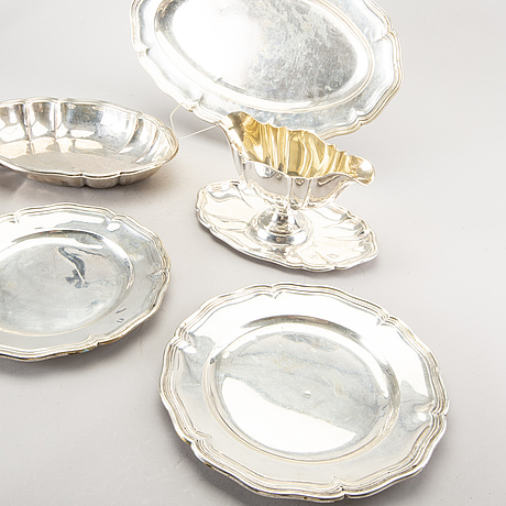 4 danish silver dishes, 1 bowl and 1 saucepan.