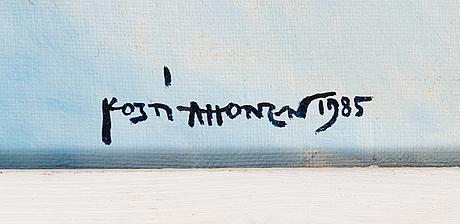 Kosti ahonen, olja på duk, signerad och daterad 1985.