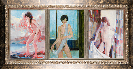 Wiking forsstrÖm, triptych, oil on canvas, signed and dated -89.