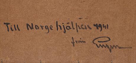 Prins eugen, olja på masonit, signerad eugen och daterad 1932. a tergo signerad eugen och daterad kivik 1932.
