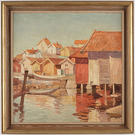 Ellis wallin, oil on canvas, signed ellis wallin and dated -49.