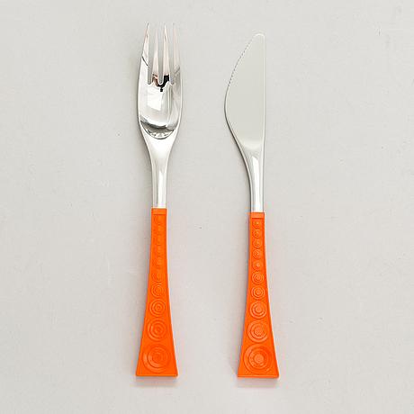 Nanny still, a 26-pcs set of 1970s 'colorina' cutlery for hackman finland.