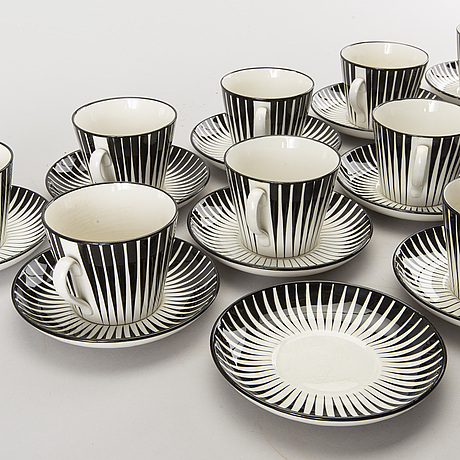 "Eugen trost, 10 cups with 12 dishes,  ""zebra"", gefle, 1955-1967."
