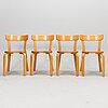 Alvar aalto, a set of four late 20th century '69' chairs for artek.