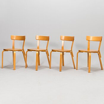 ALVAR AALTO, a set of four late 20th century '69' chairs for Artek.