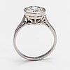A platinum ring with a ca 2.45 ct brilliant cut diamond.