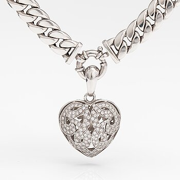 An 14K white gold necklace with diamonds ca. 2.95 ct in total.