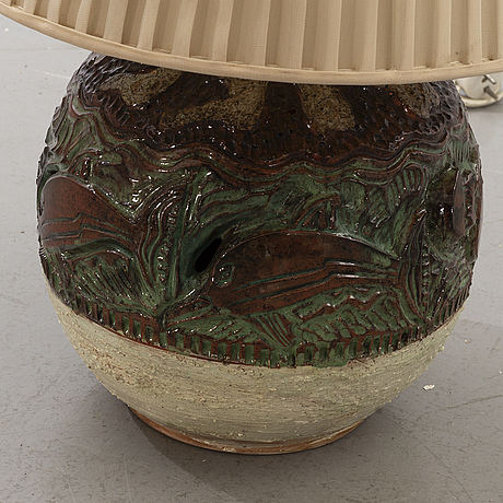 Marian zawadzki, bordslampa, lergods, tilgmans keramik, signerad marian 1963.