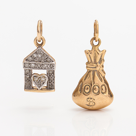 Two 14k gold pendants, one with diamonds ca. 0.10 ct in total.