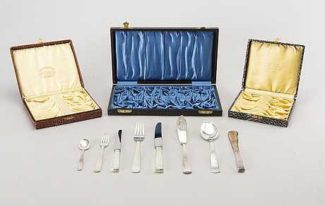 A set of rosenholm silver cutlery, 108 pieces. total weight incl. steel blades app. 3200 gram.