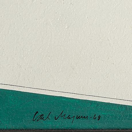 Carl magnus, blandteknik på pannå, signerad carl magnus och daterad -68.