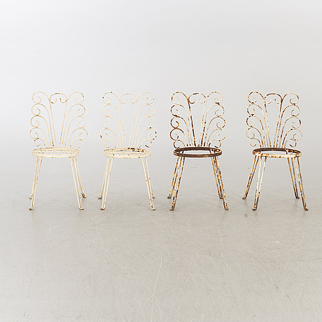 A set of four mid 20th century garden chairs.