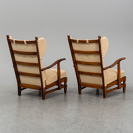 A pair of pine swedish modern armchairs, göperts, 1940's.