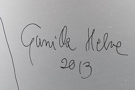 Gunilla helve, blandteknik på aluminium, a tergo signerad och daterad 2013.