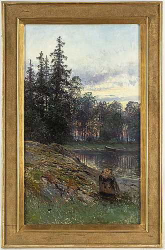Johan kindborg, oil on canvas, signed and dated furusund 1898.