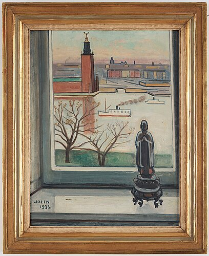 Einar jolin, view from södermalm over stockholm city hall.