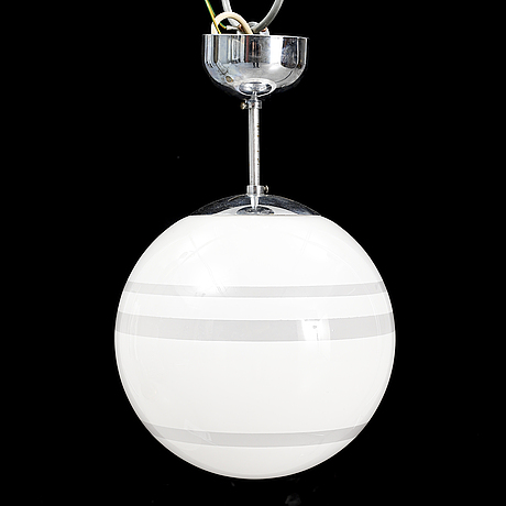 A 1930's glass and chrome ceiling light, böhlmarks.