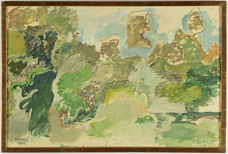 Alf lindberg, oil on canvas, signed alf lindberg. executed in 1958.