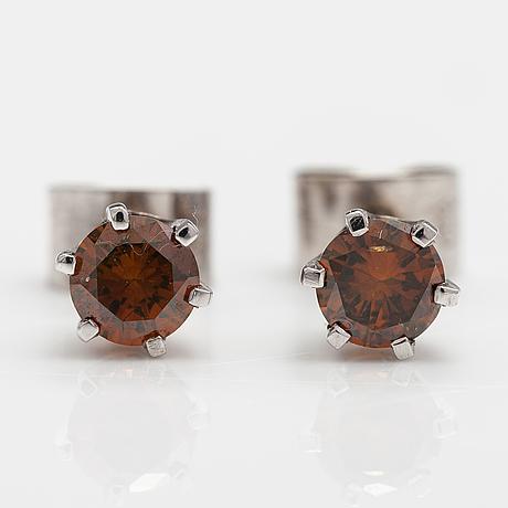 Korvakorupari, 14k valkokultaa, oranssiruskeat timantit n. 0.50 ct yht.