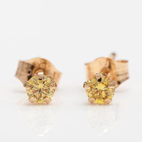 ÖrhÄngen, 14k guld, gula diamanter ca 0.22 ct tot.