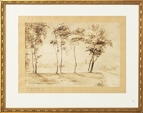 Oscar antonsson, a signed and dated ink drawing.