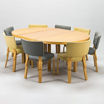 ALVAR AALTO, A 1950s dinner table with eight chairs, O.Y. Huonekalu- ja Rakennustyötehdas A.B., Finland.