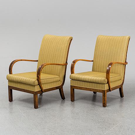 FÅtÖljer, ett par, svenska möbelfabriken, 1930-tal.