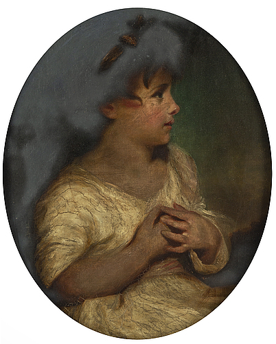 "Joshua reynolds, copy after ""the age of innocence"" oil on paper panel."