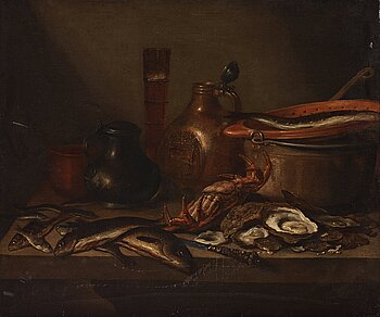 515. Pieter Claesz Circle of, Dutch school 17th/18th Century. Still life with fish, crab, oysters and jars.