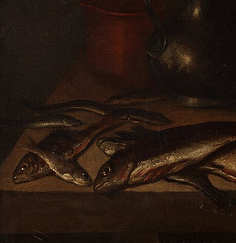 Pieter claesz circle of, dutch school 17th/18th century. still life with fish, crab, oysters and jars.