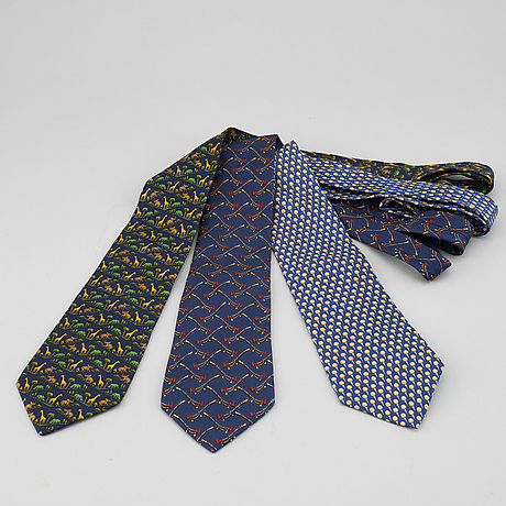 Salvatore ferragamo, three silk ties.
