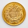 A 3 dollars liberty gold coin from 1855. weight c 5 grams.