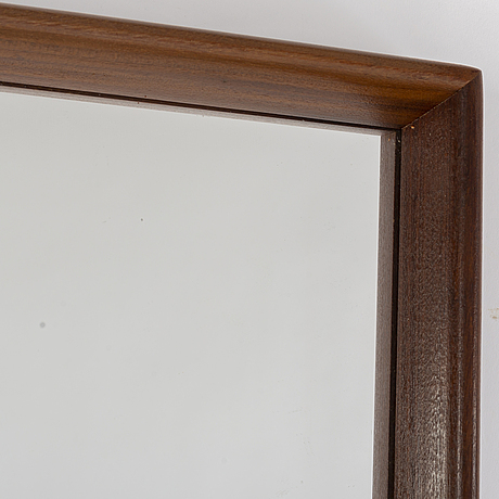 A walnut mirror, mid 20th century.