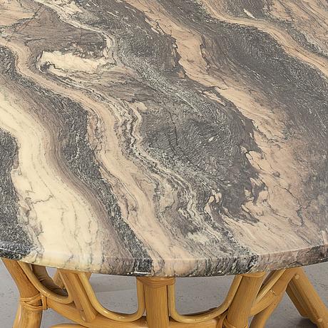 Soffbord, rotting med marmorskiva, 1900-talets slut.