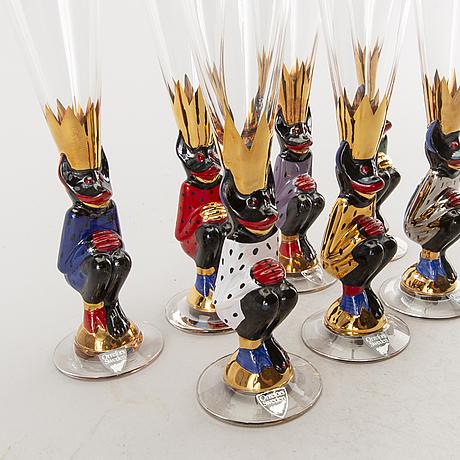 """A set of  seven devils glasses  """"nobel"""" by gunnar cyrén for orrefors."""