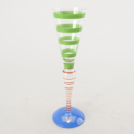 Two champagne glasses, six shot glasses and a decanter, 'clown', by anne  nilsson, signed, orrefors, late 1990s.