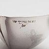 Tapio wirkkala, three leaf shaped silver bowls, marked tw, hämeenlinna, finland 1957, 1958 and 1963.