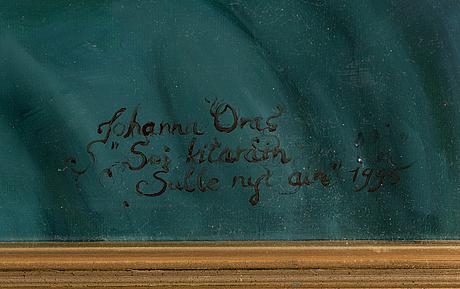 Johanna oras, olja på duk, signerad och daterad 1995, a tergo dedikation.