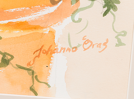 Johanna oras, water colour, signed, a tergo dedication and date 1995.