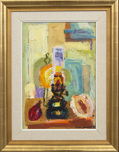 Hans larsson, a signed and dated oil on canvas.