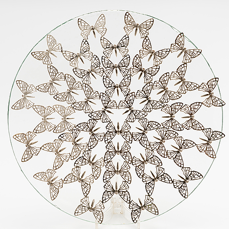 """A sterling silver and glass plate """"fragile"""". ru runeberg 2010."""
