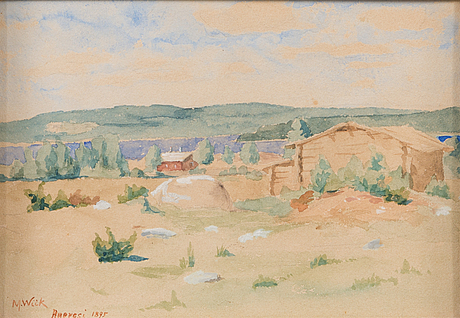 Maria wiik, water colour, signed and dated 1895.
