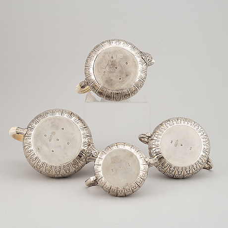 An english 19th century silver coffee- and tea- service, mark of robert garrard i, london 1857-1859.