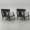 A pair of restoration hardware easy chairs, 21st century.