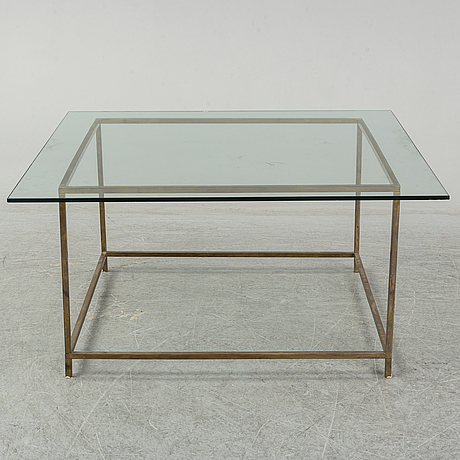 A brass and glass table, late 20th century.