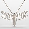 """A sterling silver neckalce """"dragonfly"""" with dichroic glass. ru runeberg 2014."""