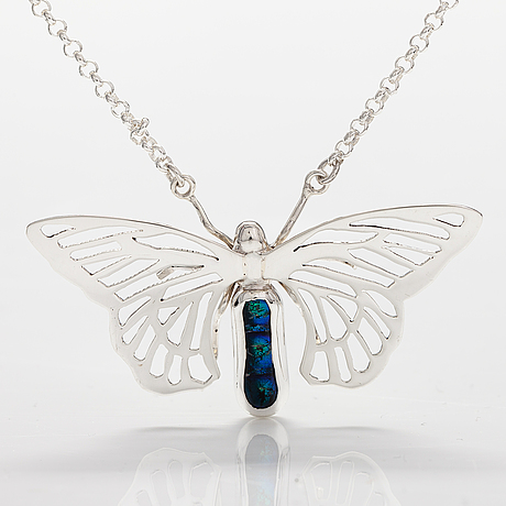 "A sterling silver necklace ""butterfly"" with dichroic glass. ru runeberg 2019."